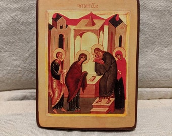 Miniature icon of The Meeting (Presentation) of the Lord. Approx 3*4 inches.