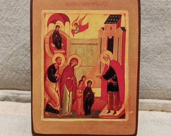 Miniature icon (the original is by Leonid Ouspensky) of the Presentation by Ss Joachim and Anna of their daughter Mary, in the Temple.