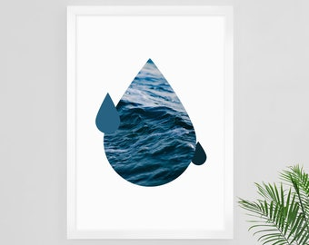Abstract Ocean Print, Ocean Print, Modern Ocean Art, Modern Minimalist, Ocean Waves Art, Large Poster, Ocean Decor, Minimalist Artwork