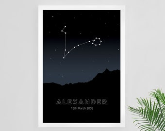 Personalised Constellation Star Sign Print, Custom Star Sign, Constellation Map Custom, Customised Name Print | Professional Print