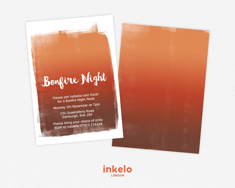 Ombre Paint Invitation Bonfire Feast Bonfire Night Autumn | Etsy