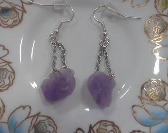 Raw Amethyst Earrings - Crystal Earrings - Rough Amethyst Earrings - Amethyst Jewelry - February Birthstone - Raw Purple Amethyst Crystals