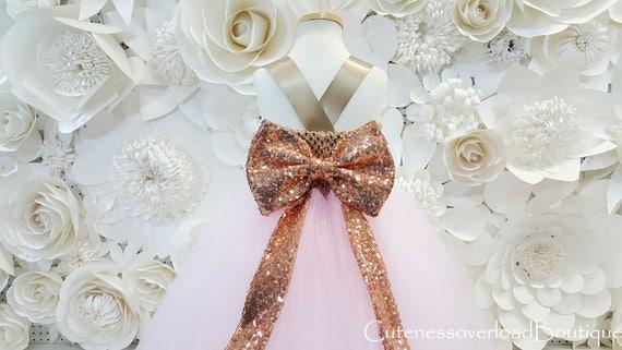 a3cb0b9a04369 Flor rosa luz chica Tutu vestido bebé vestido rosado del tutú