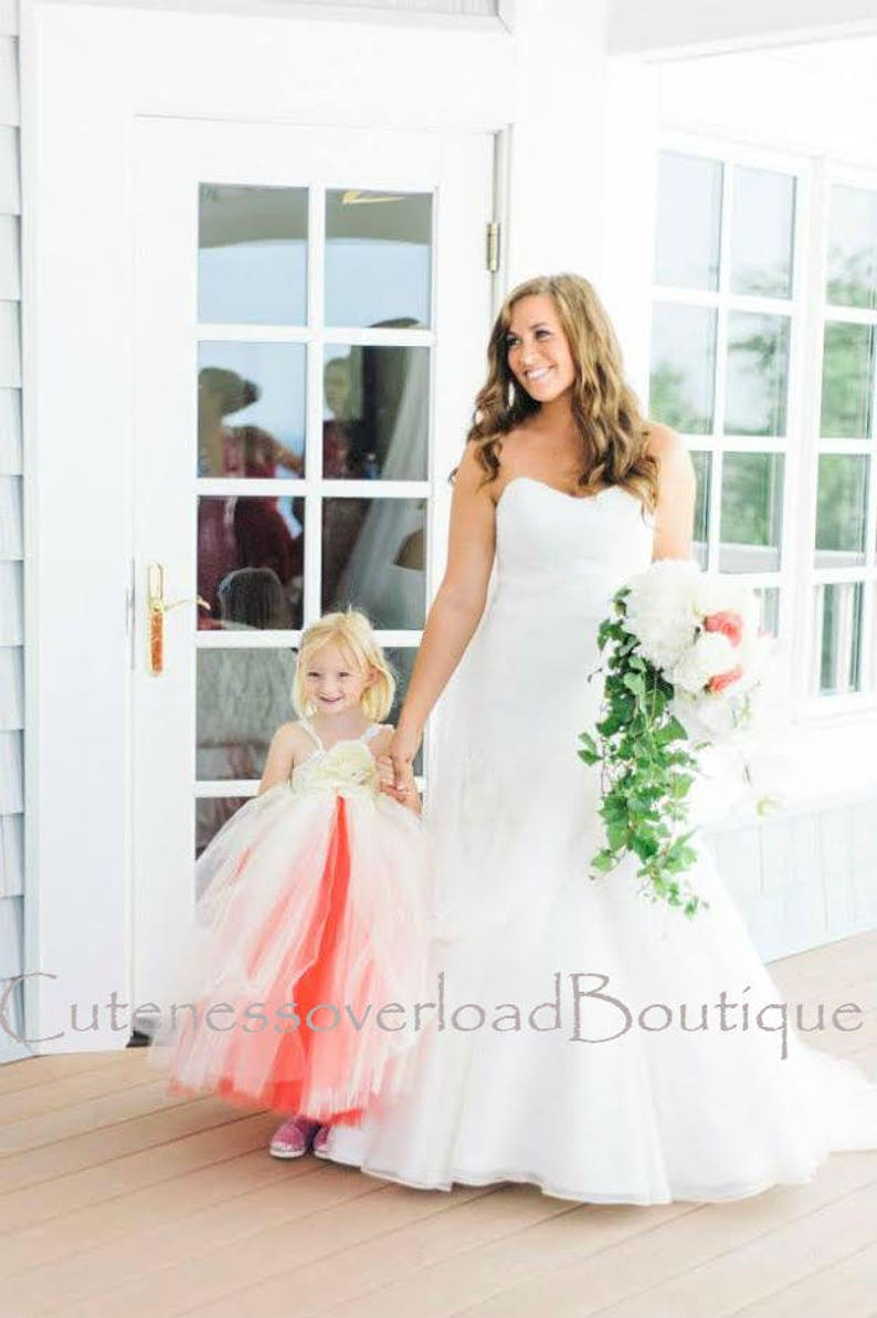 e320ebd20444 Ivory Coral Flower Girl Dress Girls Coral Dress Toddler | Etsy