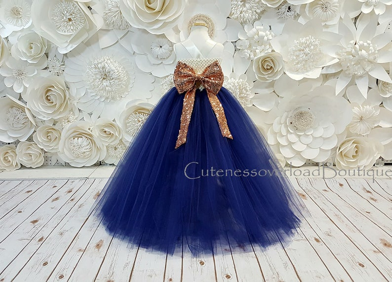 992ebfa0b34 Navy Flower Girl Tutu Dress Rose Gold Sequins Tutu Dress-Navy