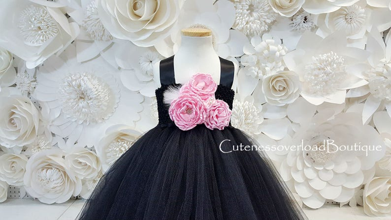 Black Fancy Tutu Dress-Black Girls Dress-Black Flower Girl Tutu Dress-Black Dress-Black Wedding Dress-Black Tutu Dress-Black Baby Dress
