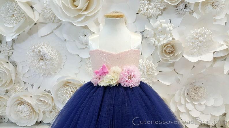 Navy Flower Girl Tutu Dress-Navy Tutu Dress-Navy Tutu-Navy Dress-Navy Girl Tutu-Navy Birthday Dress.