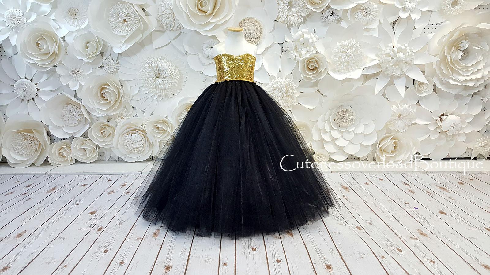 ebe2b20ea6879 Niña flor negra Tutu vestido negro vestido negro Tutu negro