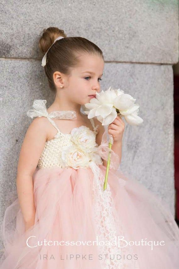Blush and Ivory Flower Girl Tutu Dress-Blush Tutu Dress-Flower Girl Tutu Dress-Wedding Tutu Dress-Birthday Dress.
