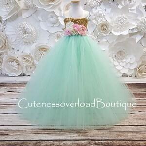 Mint and Blush Tutu Dress-Mint and Blush Flower Girl Tutu Dress-Mint and Blush Wedding Tutu Mint and Blush Girl Tutu-Mint and Blush Dress