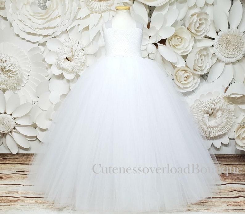 White Flower Girl Dress-White Tutu-White Girl Dress-White Bride Dress-White Birthday Dress-White Girl Dress-White Tutu-White Sequin Tutu