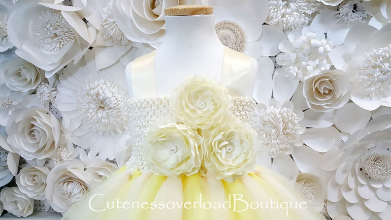 Yellow Cream Tutu Dress-Yellow Cream Flower Girl Tutu Dress-Yellow Cream Tutu Dress-Yellow Cream Girl Tutu-Wedding Tutu-Halloween Tutu.