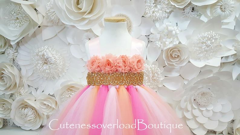 PinkPeach and Coral Tutu Dress Flower Girl Tutu Dress-Tutu Dress-Girl Tutu-Wedding Tutu-Girl Tutu-Halloween Tutu.