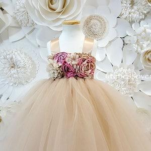 Champagne Flower Girl Tutu Dress-Champagne Tutu Dress-Champagne Bride Dress-Champagne Tutu-Champagne Wedding Tutu-Champagne Girl Tutu Dress