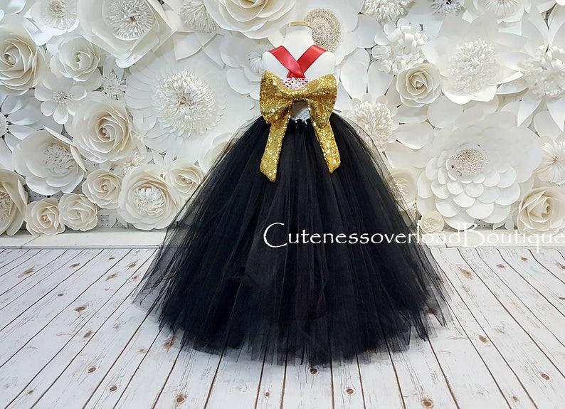 17a7595f84 Czarny Tutu sukienka czarny kwiat dziewczyna Tutu Bride Dress