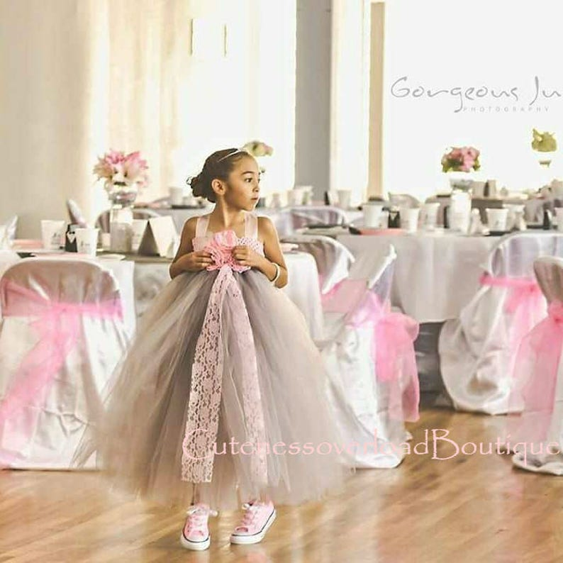 d82c65de8a4 Gray Flower Girl Tutu Dress-Gray Flower Girl Tutu Dress-Dark