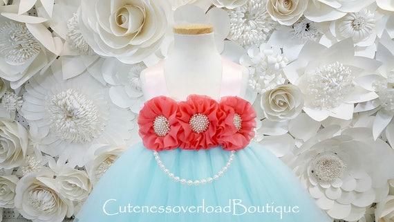 e01a602f30921 Aqua flor chica Tutu Tutu vestido Aqua Aqua vestido tutú