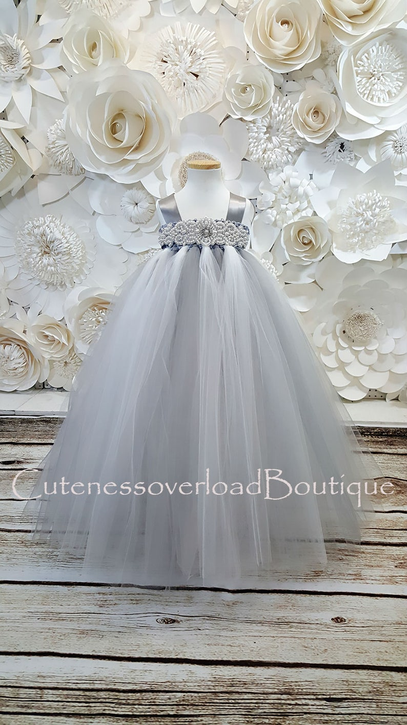 Gray Flower Girl Tutu Dress-Gray Tutu Dress-Gray Girl Tutu-Gray Birthday Tutu-Gray Wedding Tutu-Gray Baby Tutu-Gray Bride
