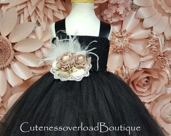 Black Flower Girl Tutu Dress-Black Girl Tutu-Black Wedding Tutu-Black Girl Tutu-Black Tutu Dress-Black Halloween Tutu-Black Wedding Tutu