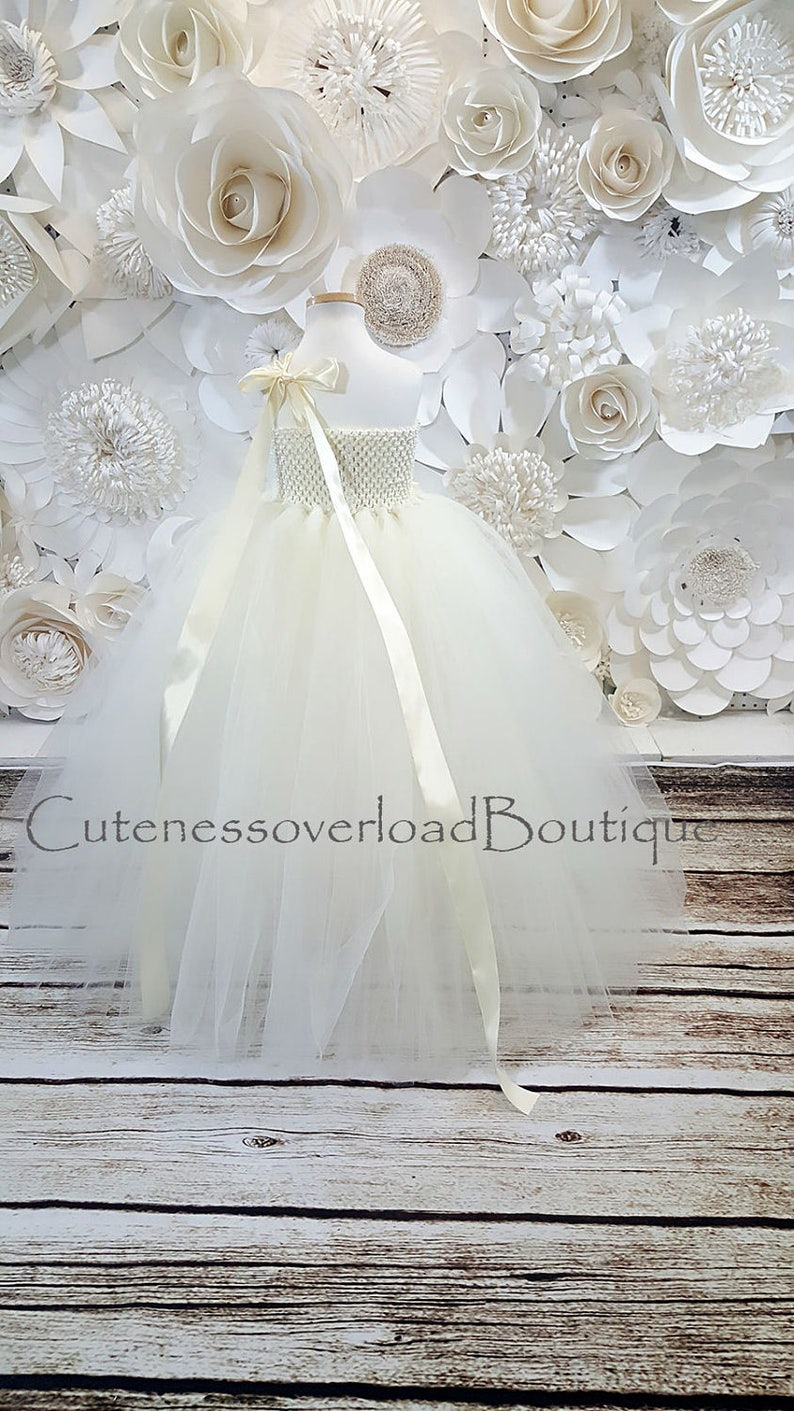 Ivory Flower Girl Tutu Dress-Ivory Tutu Dress-Ivory Tutu Dress.Flower Girl Tutu Dress-Wedding Tutu Dress-Birthday Dress.