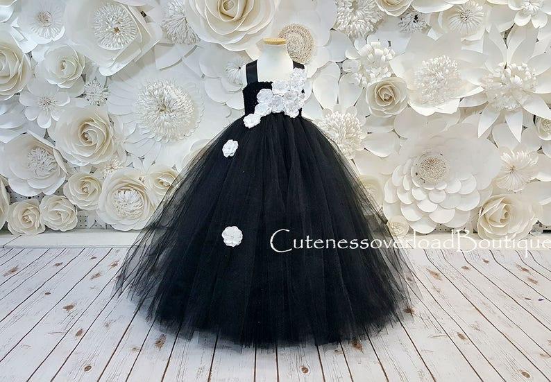 Black Tutu Dress-Black Flower Girl Tutu Dress-Black Dress-Black Girls Dress-Black Wedding Dress-Black Fancy Tutu Dress-Black Baby Dress
