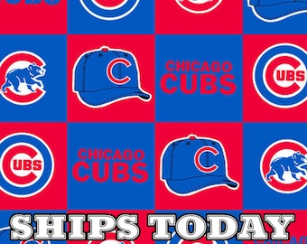 Cubs Blocks FLEECE Fabric Traditions BTY Choose your cut of fabric