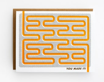 Congratulations Card - You Made It! Graduation Card, Retirement Card with Labyrinth Risograph Print