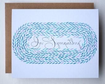 Condolence Card | Simple Sympathy Card with Encircling Wreath | In Sympathy