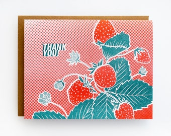 Thank You Card - Strawberry Risograph Print Card - Eco Friendly Stationery