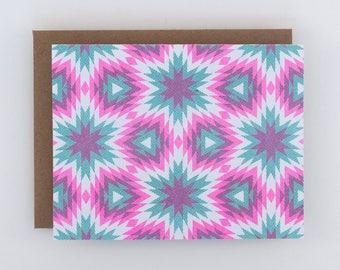 Blank Card with Pink/Mint Starburst Pattern, Geometric Art Risograph Print, Bridesmaid Card, Bridal Shower Card, Congratulations Card