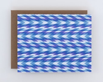 Blank Card - Chevron Art Card in Purple and Blue, Patterned Note Card, Geometric Risograph Card
