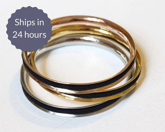 Hair Tie Bracelet Stainless Steel Bangle Bracelet in Silver  1d90cc0e630