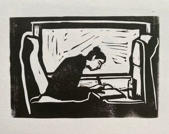 Girl train window linocut print