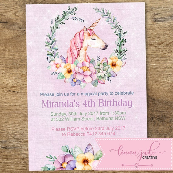 Unicorn Invitation Birthday Pink Themed