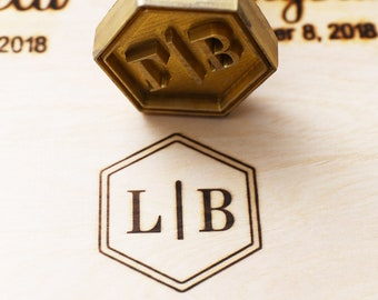 custom initials with hexagon wood branding ironleather branding iron custom flame heated branding iron steak branding