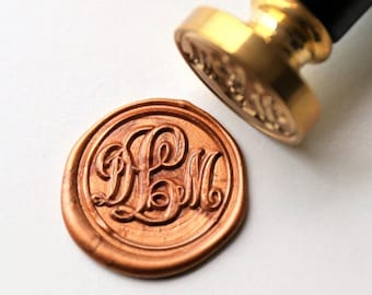 Personalized Monogram Wax Seal Stamp Triple Initials Custom Wedding Seals Invitation