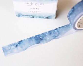 Winter Snow Washi Tape/ 15mm x7mm/DIYwedding Invitation/ Fun Washi Tape/ Planner decor-T018