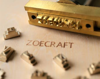 26 Interchangeable  Alphabet Letter stamp with T-slot holder/Customized Brass stamp/Leather stamp/Wood stamping
