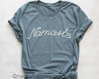 4cb3c18c Namaste shirt, yoga shirt, cute yoga shirt, trendy yoga shirt, yoga workout  tshirt, yoga tee