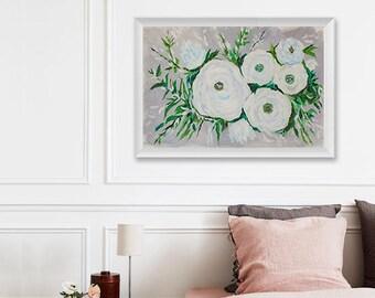 Floral Painting Art Acrylic Original // 45.4 × 30.4 cm on Acrylic Paper