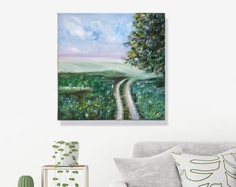 "Landscape Painting Art Oil Original Artwork green nature // ""12 x 12"" on canvas"