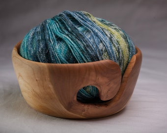 Yarn Bowl, Handmade from Cherry Wood