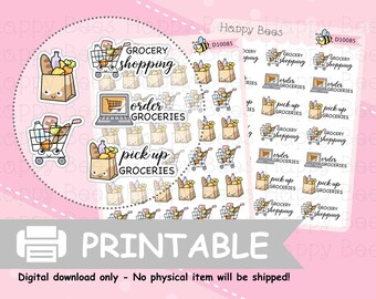 Grocery Shopping Doodles - Printable Erin Condren Print Pression Hobonichi Weeks Planner Sticker Kit [D10085]
