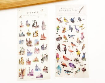 2 sheets Clear Sticker Set - Pass by the Whole World / Poetry of Nature Things Korean Stationery Planner Deco Diary Stickers