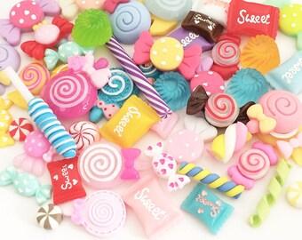 Candy Cabochon Mix (10 pcs / 30 pcs by Random) Kawaii Fake Food Deco Resin Cabochons