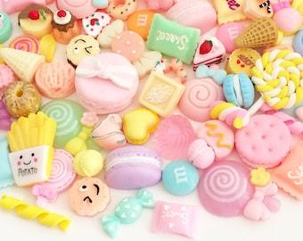 Pastel Sweets Cabochon Mix (10 pcs / 30 pcs by Random) Kawaii Fake Food Deco Resin Cabochons