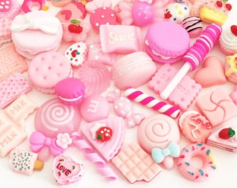 Pink Sweets Cabochon Mix (10 pcs / 30 pcs by Random) Polymer Clay Resin Kawaii Flatback Decoden Craft Cute Fake Food