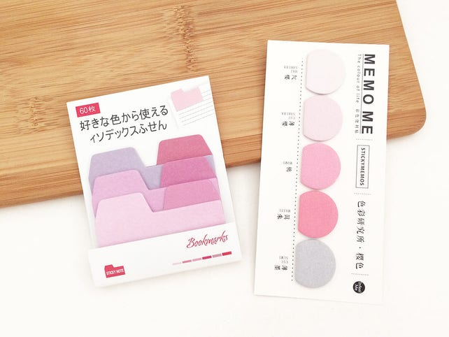 Gradient Index Sticky Notes - Pink (1 set / 2 sets) Japanese Stationery Kawaii Cute Planner Bookmarks