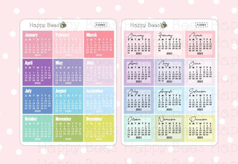Mini Calendar 2020 & 2021 / Rainbow Colors Printable | Etsy