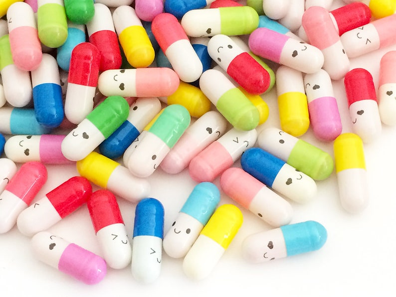 053cfcd09e653 100 pcs Secret Message Pills - Happy Faces (100 pcs by Random) Kawaii Fake  Pills Deco Resin Cabochons Cute Gift